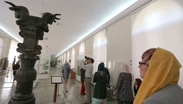Tourists visit The National Museum of Iran in Tehran