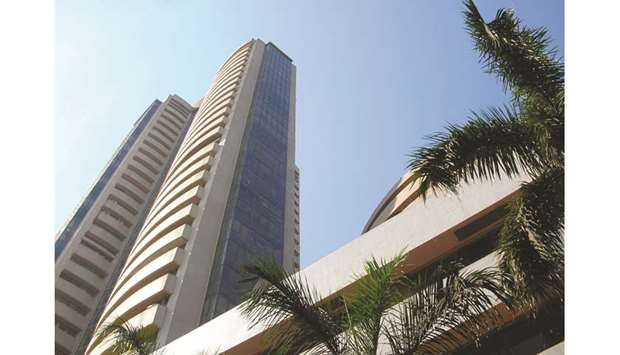 The Bombay Stock Exchange building is seen in Mumbai. The Sensex declined 0.8% yesterday.