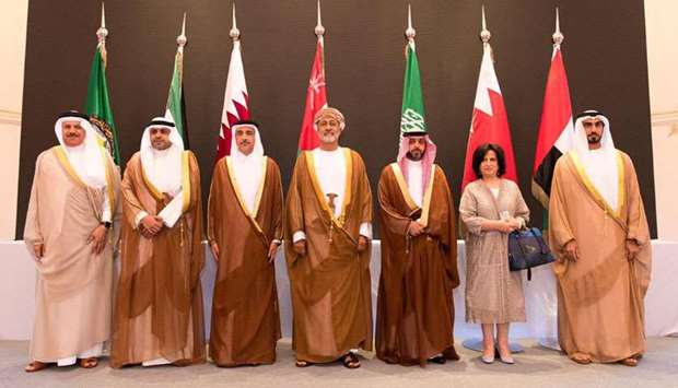 HE the Minister of Culture and Sports Salah bin Ghanim bin Nasser al-Ali with other GCC ministers of