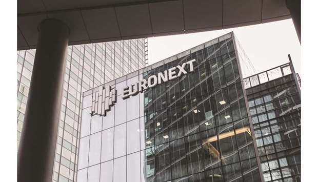The Euronext logo is seen on the exterior of the Paris stock exchange in La Defense business distric