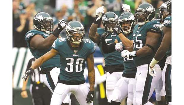 Players of Philadelphia Eagles in action during their NFL game.