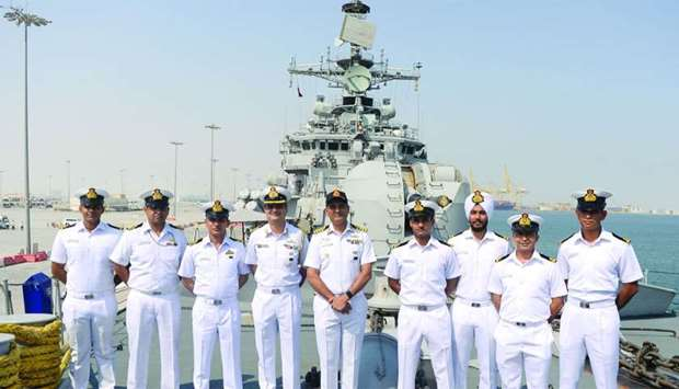 Indian Navy officers on-board INS Mysore at Hamad Port on Thursday. PICTURES: Shemeer Rasheed