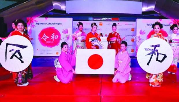 Members of the Doha Kimono Club don beautiful kimonos adorned by cherry blossoms-inspired designs.