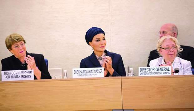 Her Highness Sheikha Moza bint Nasser at the Social Forum of the Human Rights Council in Geneva, whe