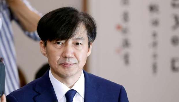 Cho Kuk attends a hearing at the national assembly in Seoul, South Korea