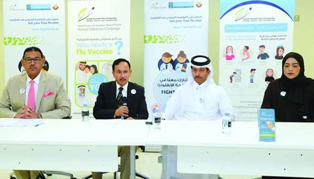 Officials announcing the launch of the vaccination campaign.