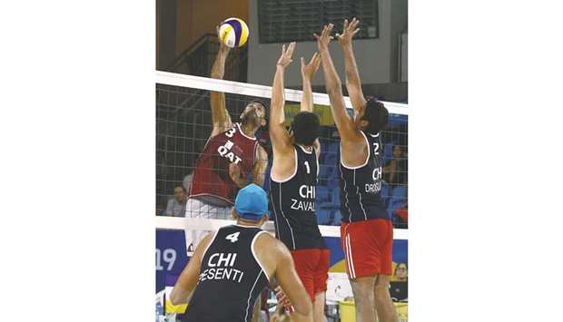 Action from the Qatar vs Chile beach volleyball match yesterday.