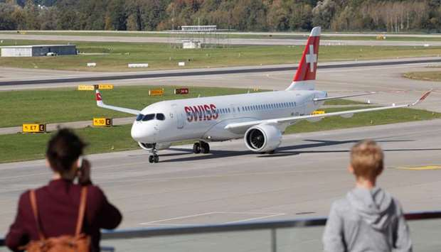 An Airbus A220 jet of Swiss Airlines is seen at Zurich airport in Zurich, Switzerland