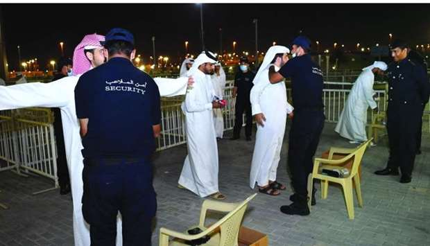 MoI officials conducting a security screening at Al Janoub stadium for the match between Qatar and O