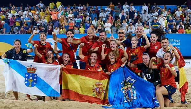 Spanish women's beach soccer team celebrate their win in the competition at the ANOC World Beach Gam