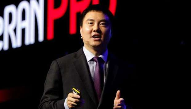 President of Huawei Wireless Solution Edward Deng making a point during the unveiling of the Chinese