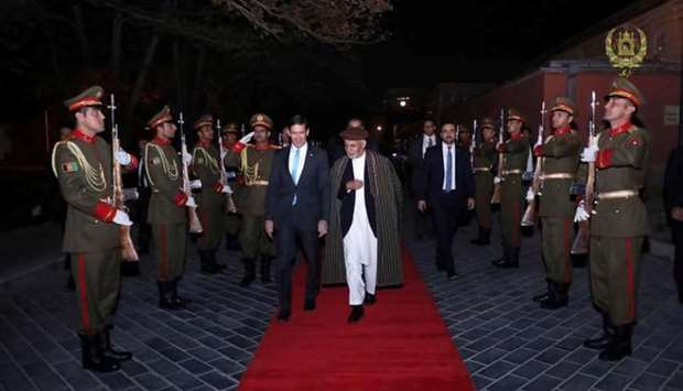 Afghanistan's President Ashraf Ghani and U.S. Defense Secretary Mark Esper inspect the honour guard