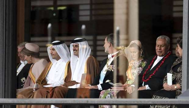 His Highness the Amir Sheikh Tamim bin Hamad Al-Thani attends the enthronement ceremony of Emperor N