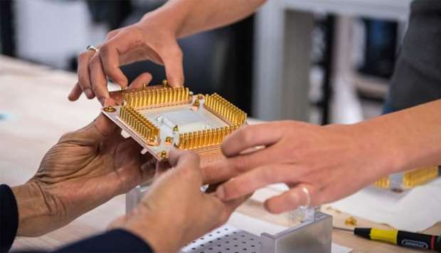A handout picture shows a component of Google's Quantum Computer in the Santa Barbara lab