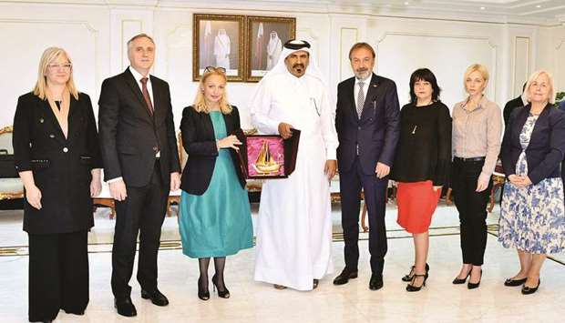 Al-Kuwari with the Serbian (left) and Kenyan delegations in Doha yesterday.