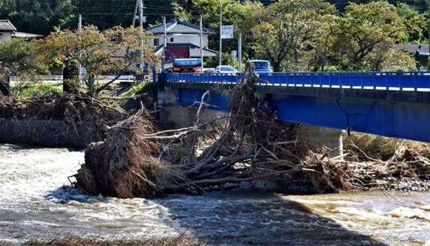 Damaged trees move along a flooded river after heavy rain in Iwaki city, Fukushima