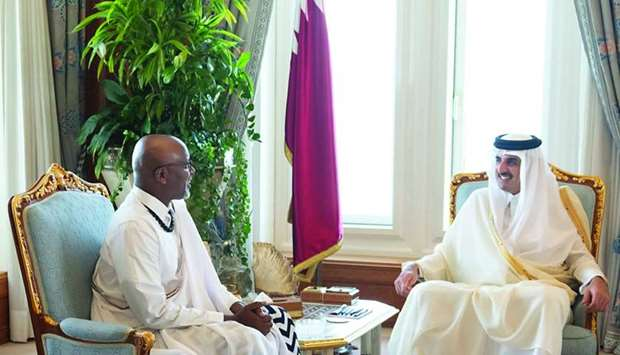 His Highness the Amir Sheikh Tamim bin Hamad Al-Thani receives Rwanda ambassador to Qatar Francois N