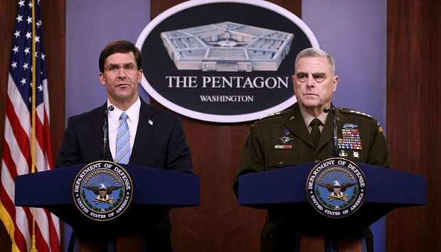 US Defense Secretary Mark Esper (L) and Chairman of the Joint Chiefs of Staff Gen. Mark Milley hold