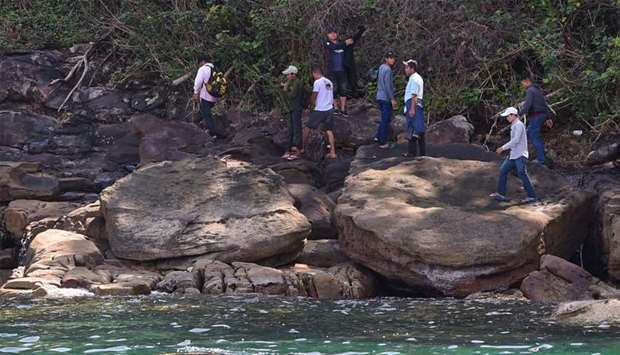 Cambodian volunteers search for missing British woman Amelia Bambridge in Koh Rong island in Sihanou