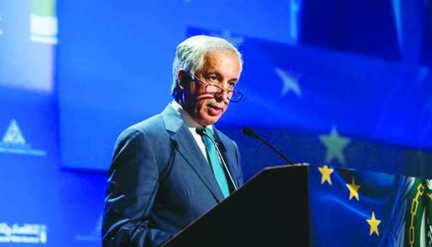 HE the Minister of State for Foreign Affairs Sultan bin Saad al-Muraikhi addressing the 4th EU-Arab