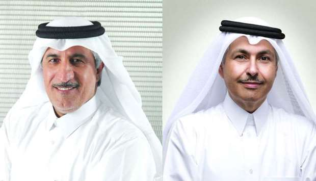 Ooredoo Group chairman HE Sheikh Abdulla bin Mohamed bin Saud al-Thani (L), chief executive officer
