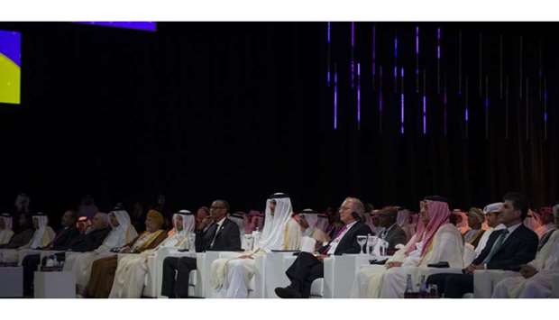 His Highness the Amir Sheikh Tamim bin Hamad al-Thani with dignitaries attending the opening of Qitc