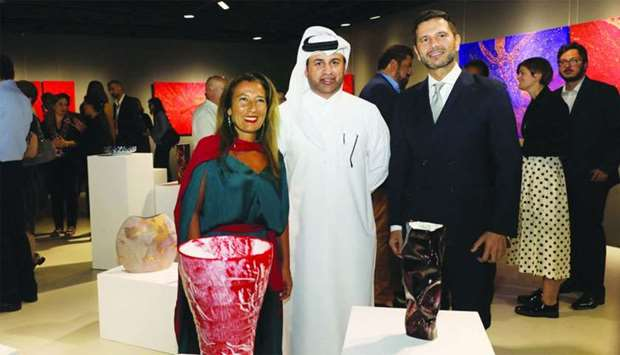 Caterina Varchetta, Dr Khalid bin Ibrahim al-Sulaiti , and Pasquale Salzano at the opening of 'No Bo