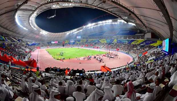 Spectators in the stands at the 2019 IAAF Athletics World Championships at the Khalifa International