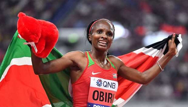 Kenya's Hellen Obiri celebrates winning the Women's 5000m final at the 2019 IAAF Athletics World Cha