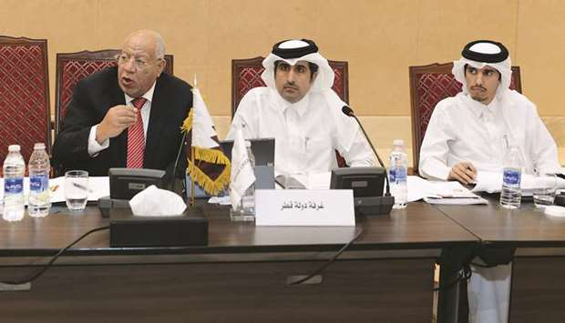 Qatar Chamber director-general Saleh bin Hamad al-Sharqi with other members of the delegation during