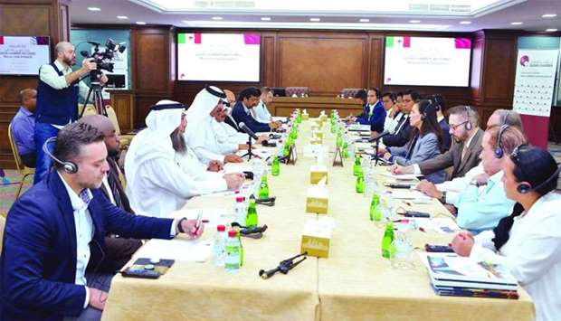 Al-Kuwari and ambassador Garcia in a discussion at Qatar Chamber's Doha headquarters