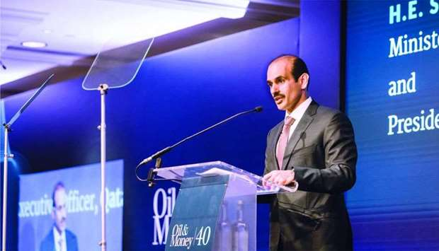HE Saad Sherida al-Kaabi addressing the 40th Oil and Money Conference in London.