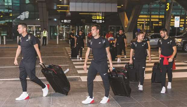 Athletes arrive at the Hamad International Airport yesterday ahead of the first-ever ANOC World Beac