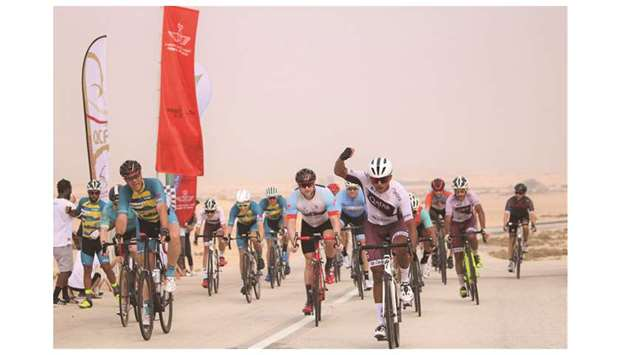 Qatar's Abdullah al-Jaaidi celebrates after winning the first stage of the Royal Air Maroc (RAM) Cyc