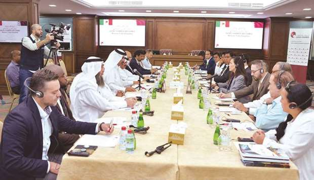 Al-Kuwari and ambassador Garcia in a discussion at Qatar Chamber's Doha headquarters yesterday.