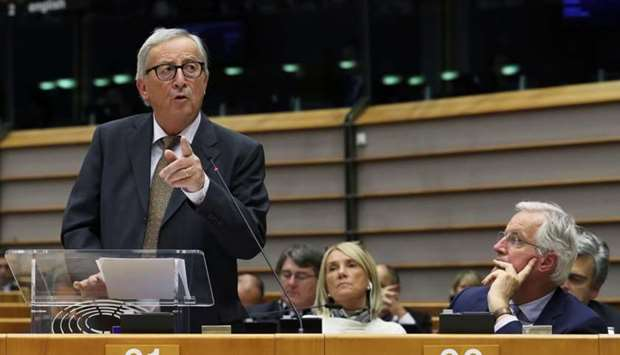 European Commission President Jean-Claude Juncker speaks during a plenary session on preparations fo