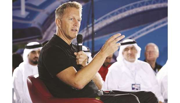 Al Arabi coach Heimir Hallgrimsson speaks during the 5th edition of the Aspire Academy Global Summit