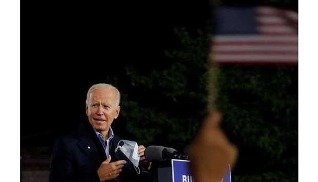 US Democratic presidential candidate and former Vice President Joe Biden speaks at a campaign stop i