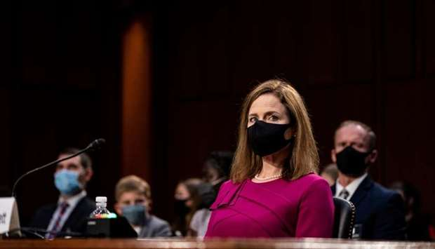 US Supreme Court nominee Amy Coney Barrett attends her confirmation hearing before the Senate Judici