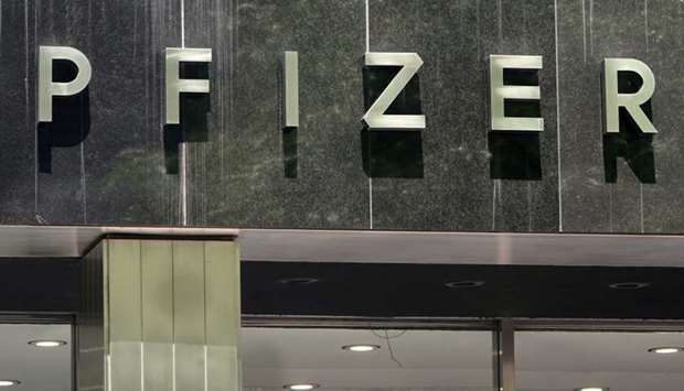 A Pfizer sign is pictured at their Headquarters in the Manhattan borough of New York City, New York,