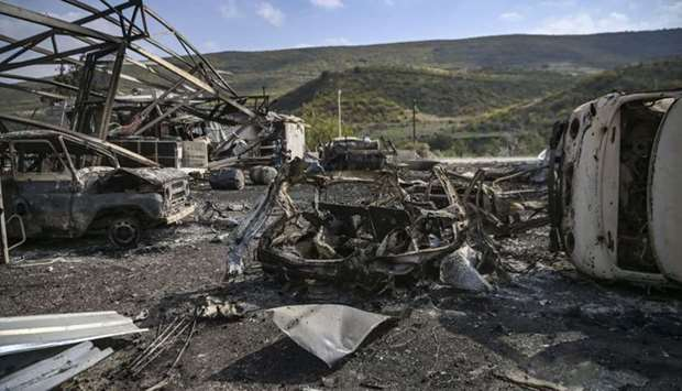 Destroyed vehicles and facilities of the hospital of Martakert region, seen yesterday after shelling
