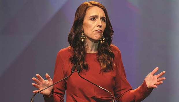 New Zealand Prime Minister Jacinda Ardern speaks at the Labour Party election night event as she cla
