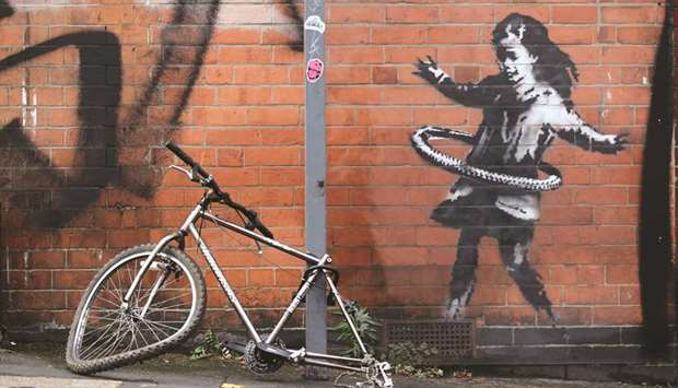 The new Banksy artwork in Rothesay Avenue, Nottingham.