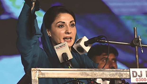 FIERY: Maryam Nawaz, daughter of former prime minister Nawaz Sharif, gestures during a speech at the
