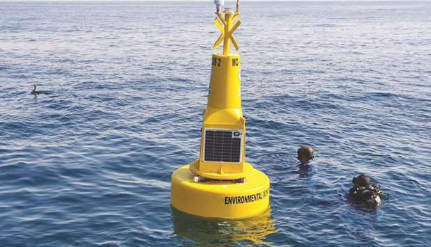 One of the buoys being installed.