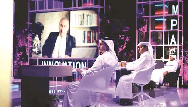 Yosouf al-Salehi, serving on the in-studio jury panel alongside Dr Khalid al-Ali, with Professors Ab