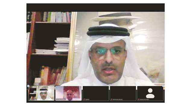 Qicca board member for International Relations Sheikh Dr Thani bin Ali al-Thani speaking at the open
