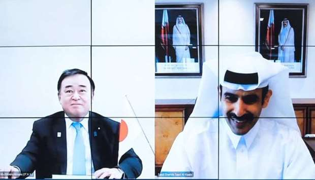 HE the Minister of State for Energy Affairs Engineer Saad Sherida Al-Kaabi and Japanese Minister of