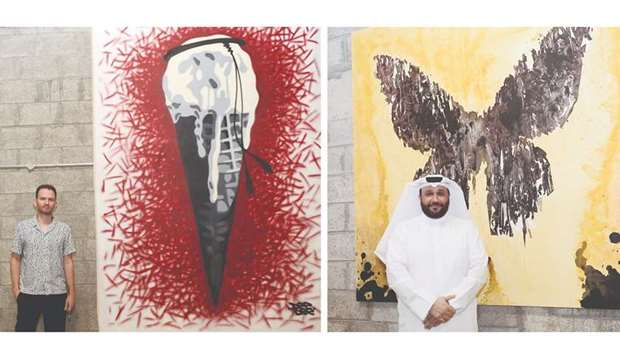 Serbian artist Dimitrije Bugarski showcases his work 'Ice Cream Vigilante', left, and Qatari artist