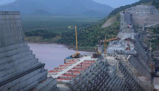 Ethiopia's Grand Renaissance Dam is seen as it undergoes construction work on the river Nile